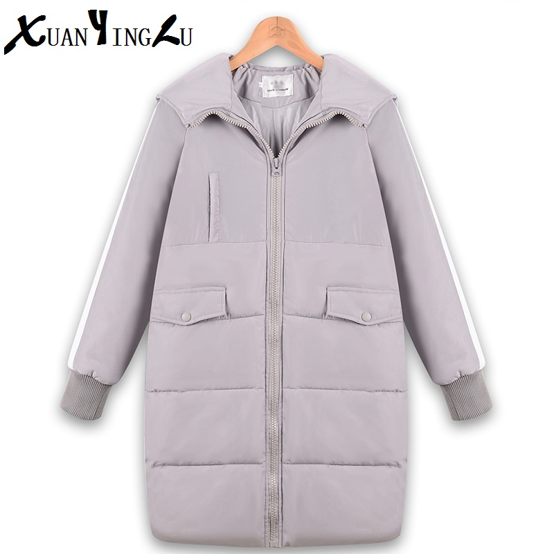 ФОТО XUANYINGLU 2016 New Winter Coats Women High-end fashion brand lapel Long sleeves Solid  Long section Thickening Casual Parkas