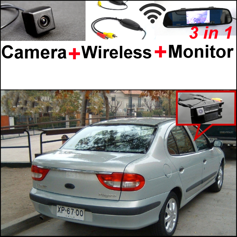 3 in1 Special WiFi Rear View Camera + Wireless Receiver + Mirror Monitor  Backup Parking System For Renault Megane 1 I 1995~2002 3in1 diy for lexus gx470 2002 2009 wireless wifi bluetooth backup rear view reverse rearview camera camara