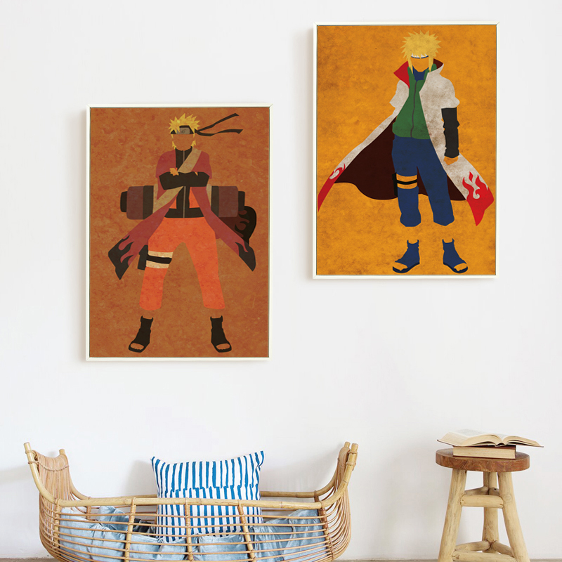 Elegant Poetry Japanese Anime Naruto Modern Simple Retro Role Canvas Painting Print Picture Poster Children Bedroom Decoration in Painting Calligraphy from Home Garden