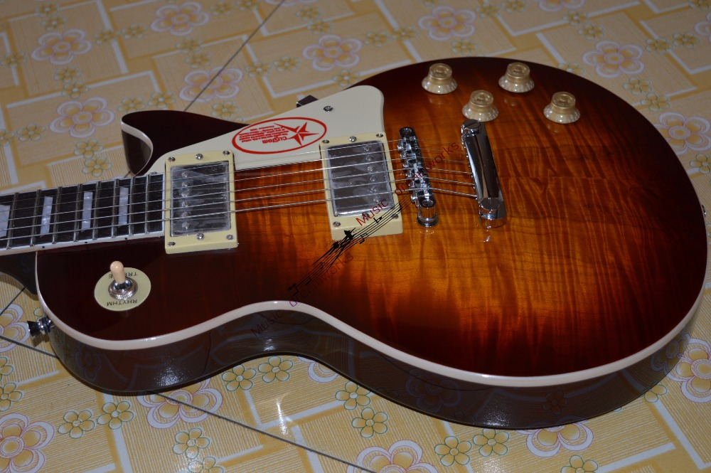 China electric guitar firehawk OEM shop G LP standard electric guitar Spalted flamed maple wood variety of color can choose china oem firehawk shop guitar hot selling tl electric guitar stained maple tiger stripes maple wood color page 3