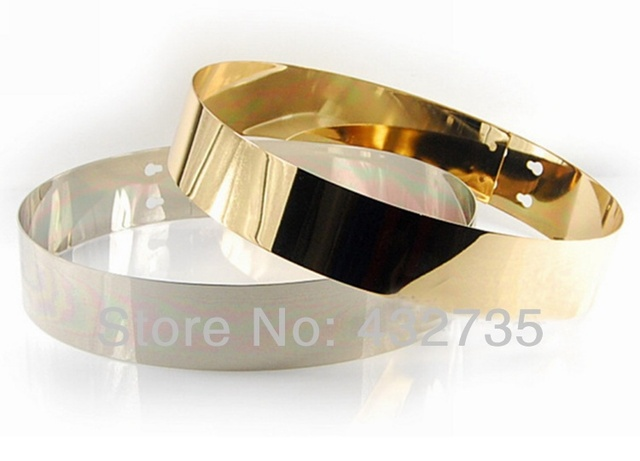 новая мода розничной cintos femininos золото зеркало металлическая пластина bling широкая талия ремни женской сплошной цвет пояс украшения