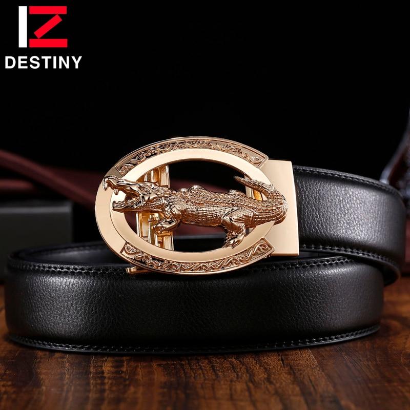 DESTINY Famous Brand Luxury Crocodile Belt Men Designer Belts High Quality Male Genuine Leather Strap Wedding Gold Silver Alloy