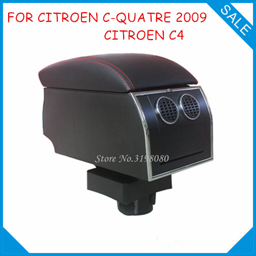 8pcs USB Armrest For CITROEN C-QUATRE 2009/CITROEN C4,Car center arm rest console box with hidden cup holder Accessories Parts universal leather car armrest central store content storage box with cup holder center console armrests free shipping