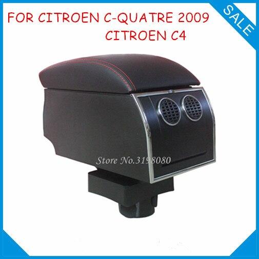 8pcs USB Armrest For CITROEN C-QUATRE 2009/CITROEN C4,Car center arm rest console box with hidden cup holder Accessories Parts