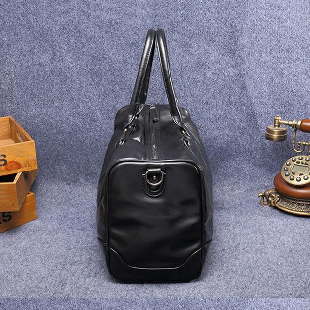 ETONWEAG Brand Cow Leather Traveling Bag Vintage Travel Bags Hand Luggage Black Zipper Duffle Bag Big Capacity Organizer Luggage 4