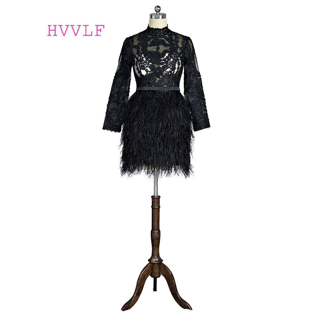 Black 2019 Elegant Cocktail Dresses Sheath Long Sleeves Appliques Lace Feather Short Mini See Through Homecoming Dresses