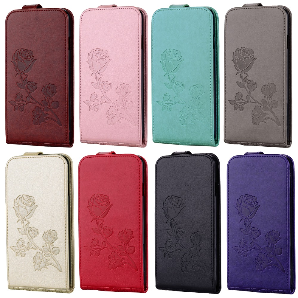 Rose Fashion Magnetic PU Leather Card Holder Stand Vertical Flip Stents Case Cover For iPhone 7 7Plus 6G 6S Plus 5G 5S SE 4S