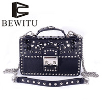 BEWITU Female Chain Packet Rivet Diamond Small Square Package 2018 New European And American Shoulder Solid