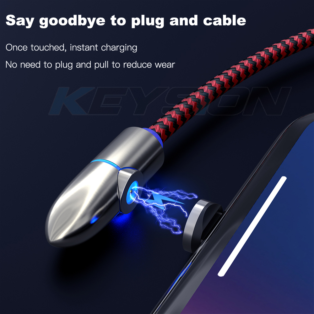 KEYSION L Line Magnetic Charging Cable 90 Degree LED Cable for iPhone X 8 7 6 Plus Micro USB Cable USB Type C USB C Cable in Mobile Phone Cables from Cellphones Telecommunications