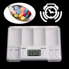 Pills Reminder Medicine Alarm Timer Electronic Box Case Organizer 4 Grid