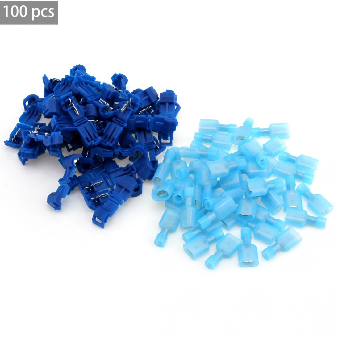 100Pcs T Tap Insulated Electrical Cable Connectors Quick Splice Wire Terminal Spade Crimp Connector