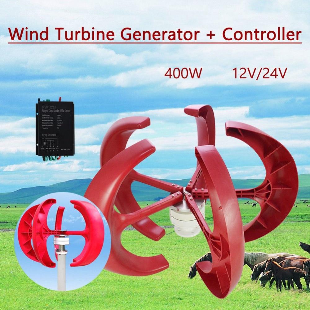 Wind Generator 12V 400W lanterns Vertical axis Wind Turbine Generator + controller wind generator 400w rated 400w wind turbine generator 12v 24v wind generation hybrid controller off grid inverter 600w