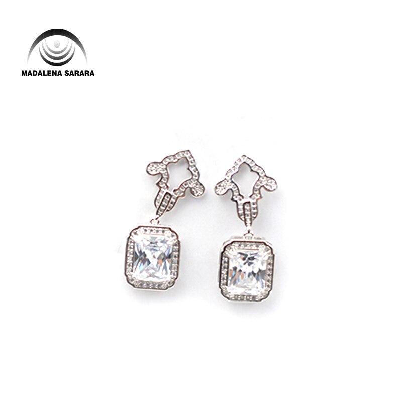 MADALENA SARARA S925 Needle Dangle Earring AAAA Cubic Zirconia And Crystal Inlaid Flower Style  Girl's Earring