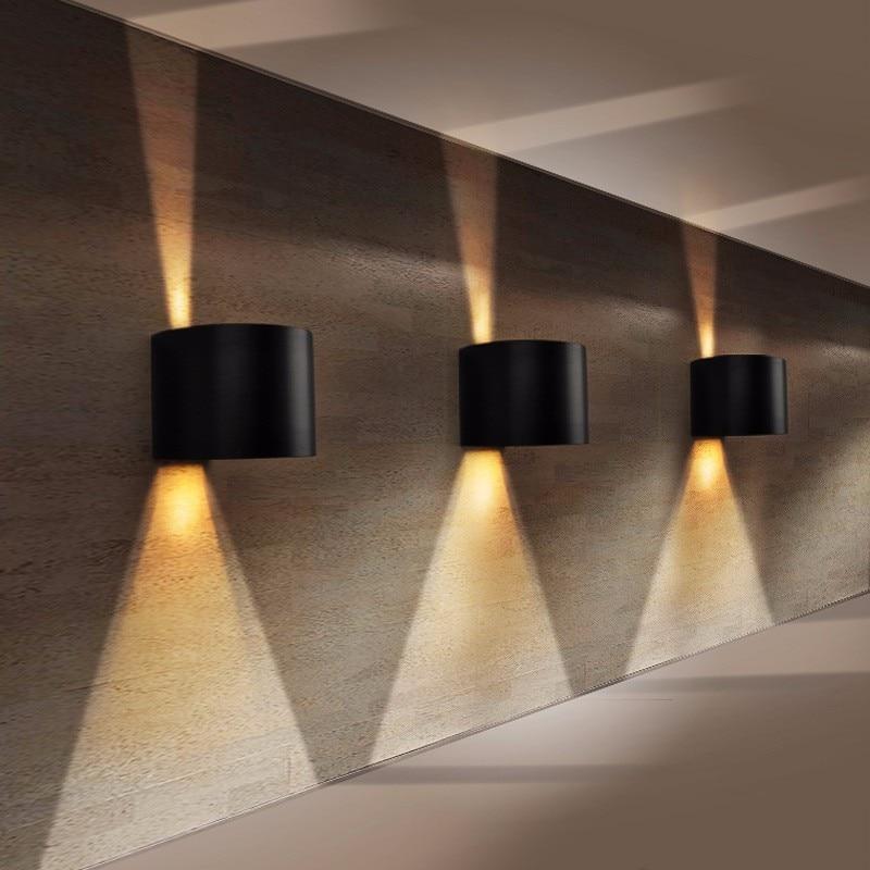 New Desgin Round Wall Sconce Black Aluminum Up Down Light Outdoor IP65 Waterproof Bathroom Light 90~260v Led Wall Lamp ZXX0005 2 narrow beam aluminum outdoor wall sconce waterproof 90 260v 2 3w wall lights up down light modern wall lamp gwl057