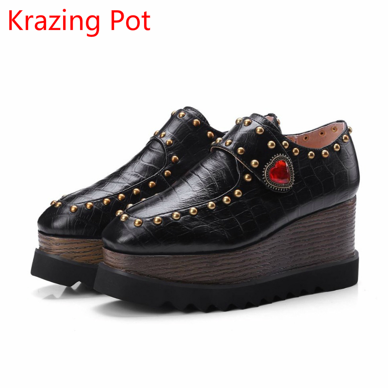 2018 Genuine Leather Casual Shoes Square Toe Rivets Rinestone Wedge Women Pumps Love Buckle Big Size Crystal Increased Shoes L72 nayiduyun women genuine leather wedge high heel pumps platform creepers round toe slip on casual shoes boots wedge sneakers