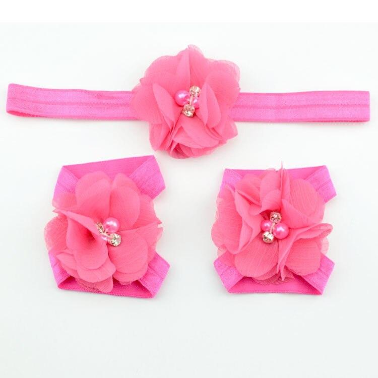 Детская повязка на голову; Детские босоножки ботинки со стразами и цветами; комплект с повязкой на голову; обувь; реквизит для фотосъемки; Детские аксессуары для волос - Цвет: hot pink