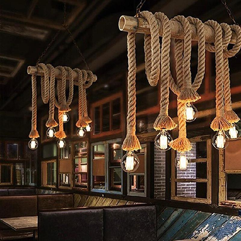 SOLLED Vintage Rustic Hemp Rope Ceiling Chandelier Wiring E27 220V Pendant Lamp Hanging Lights for Living Room Bar Decor