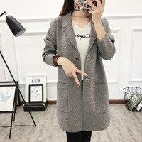 Office Lady Korean Style Women Sweater Single Breasted Knitted Long Cardigan Long Sleeve Women Winter Jackets Tops