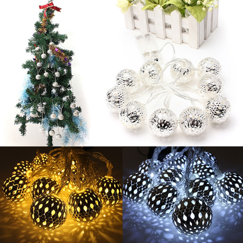 Battery Operated 1.2m/3.9ft 10 LED Ball String Fairy Lights Christmas Decoration