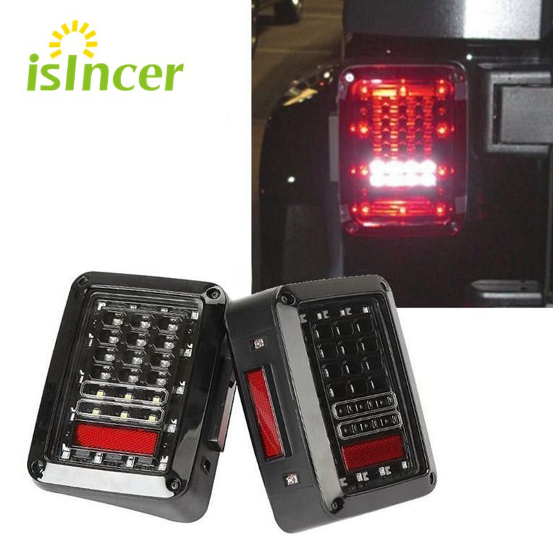 Car Styling iSincer LED Tail Lights Brake Turn Signal Reverse Lamp Rear Lights For Jeep Wrangler JK US/EU edition reverser light