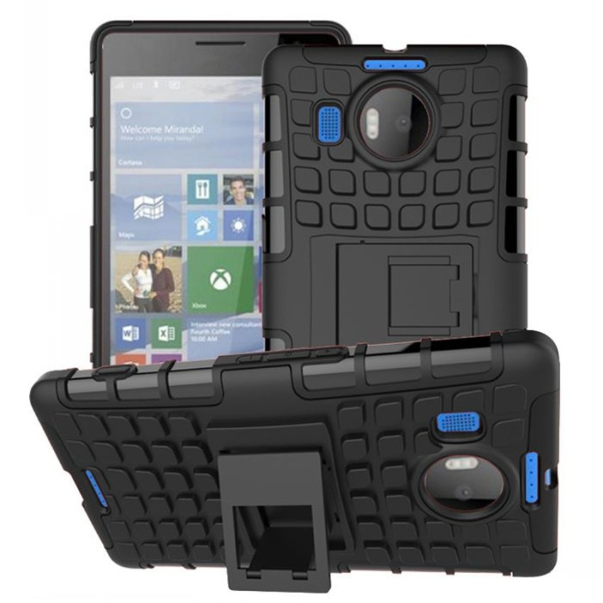 Tire Style Tough Rugged Dual Layer Hybrid Kick Stand Case for Microsoft Nokia Lumia 950XL Dual SIM Duty Kickstand Phone Case