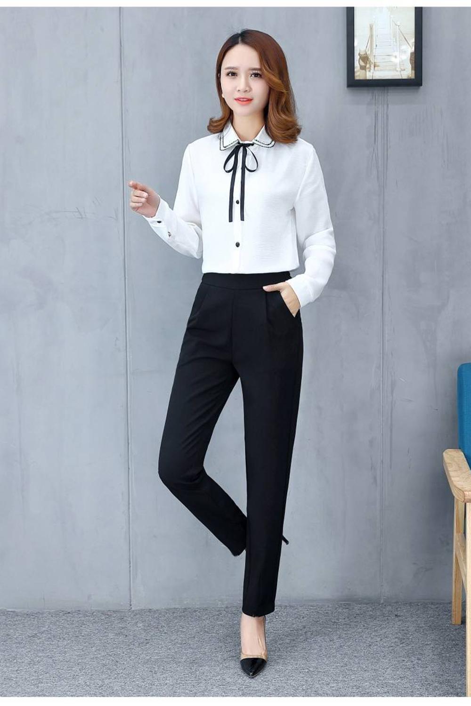 Women's Pants Casual Fashion Solid Mid Elastic Waist Long Trousers Office Plus Size Women Joggers Sweat Skinny Pencil Pant Black 2
