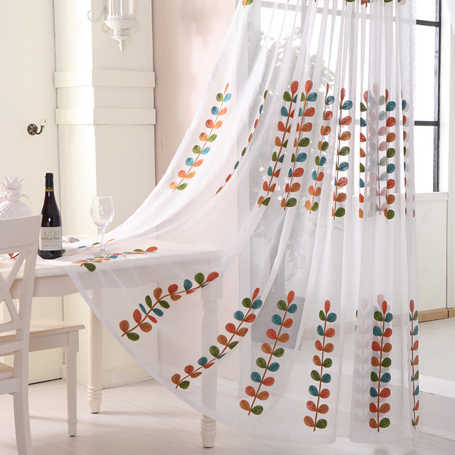 high quality embroidered voile curtains leaves tulle window curtain cortinas rideau pour salon para cortina for - Cortinas Salon