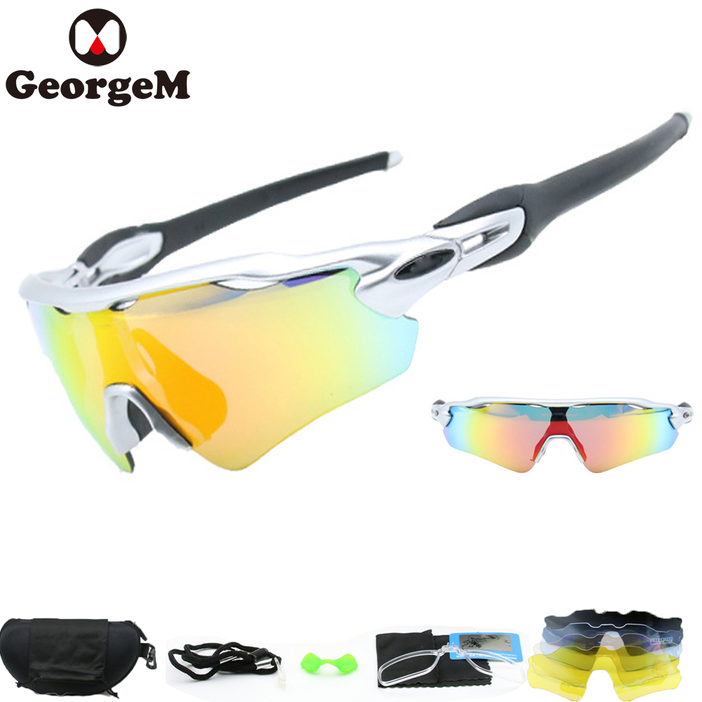 GeorgeM Outdoor Sport MTB Bike Sunglasses Eyewear Polarized Lunette Soleil Homme Sunglasses Men Cycling Bike Glasses 1Set 5 Lens sunglasses men sun glasses ray ba polarized sunglass sport brand lunettes de soleil homme for
