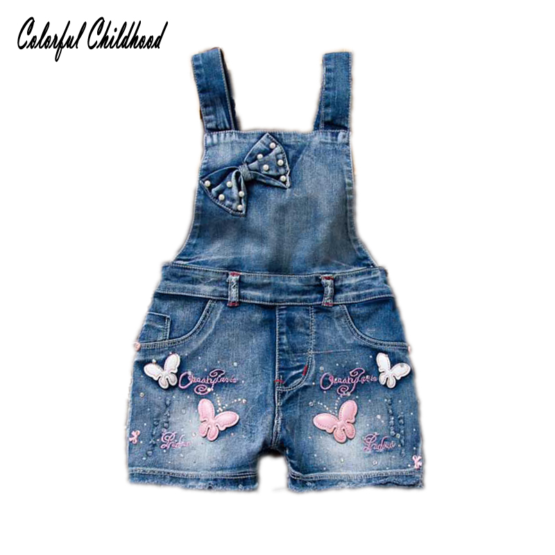 De Goedkoopste Prijs Meisjes Denim Overalls Lente Zomer Vlinder Mode Jean Shorts Kinderkleding Casual Kids Broek Jarretel Meisje Jumpsuits
