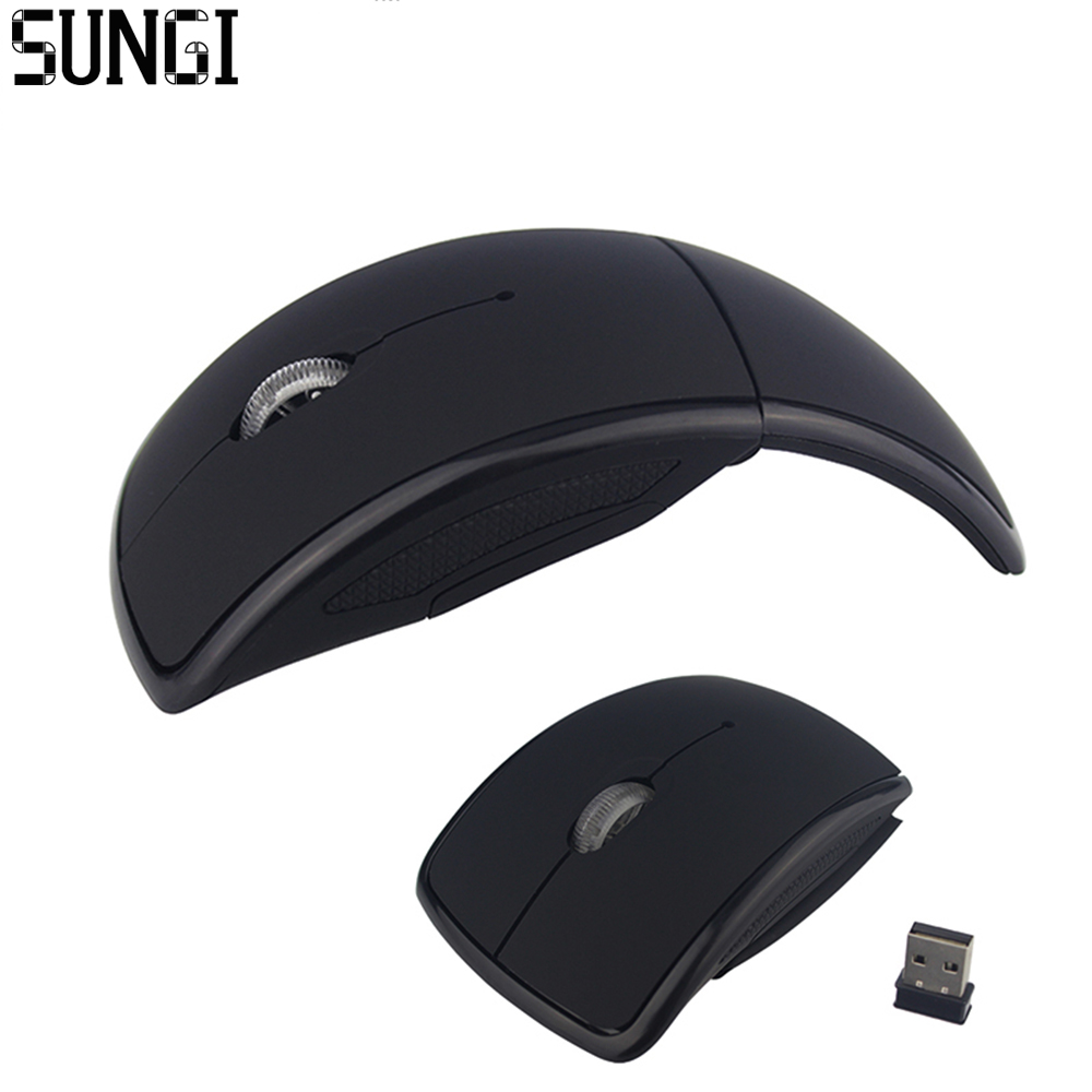 Sungi Portable 2 4G Foldable Wireless Mouse Computer Accessories Arc Optical Mouse With Mini USB Receiver