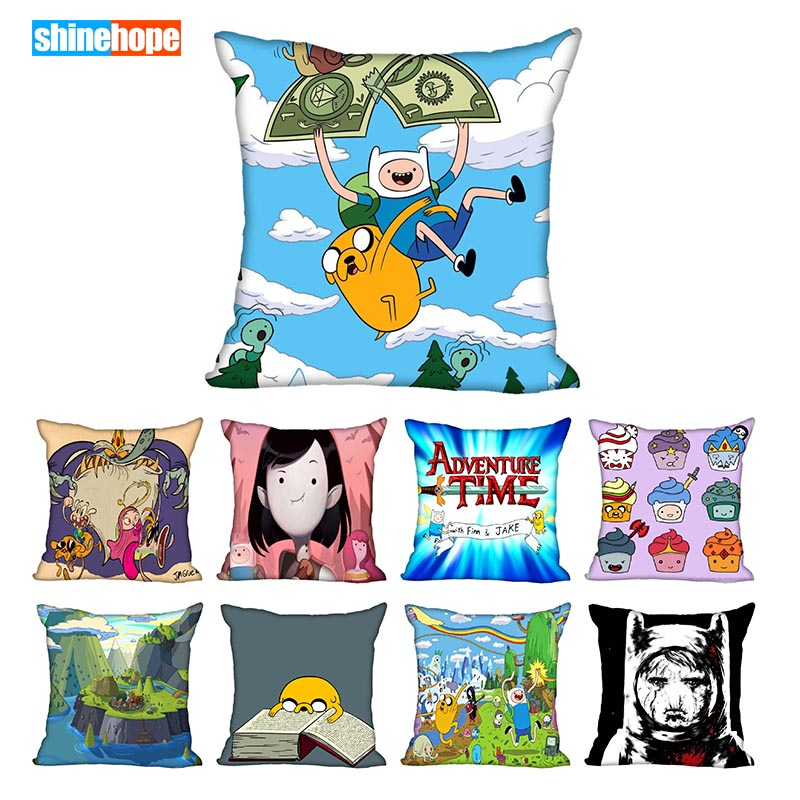 45X45cm,40X40cm(one Sides) Pillow Case Modern Home Decorative Adventure Time Pillowcase For Living Room Pillow Cover