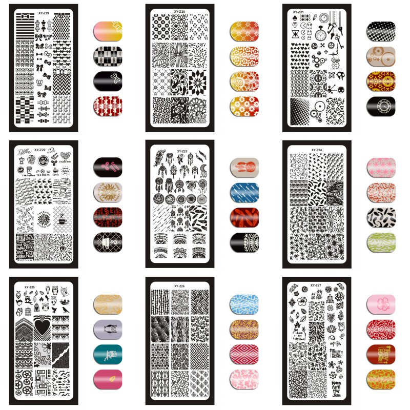 MAFANAILS Nail Art Stamping Template Geometry Heart Pattern Stamp Plates Manicure DIY Nail Mold Stencil Tools 32 Styles 013XYZ in Nail Art Templates from Beauty Health