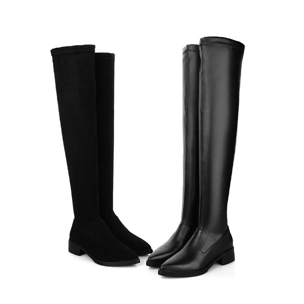 Knee Boots Black Cow Leather+Flock Thigh High Boots Women Pointed Toe Flat Women Thigh Boots Knee High Boots JD01 MUYISEXI