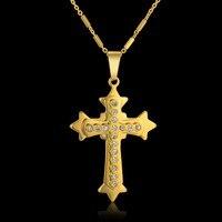 Fashion Mens Lord S Prayer Cross Pendant Male Gold Color Stainless Steel Zirconia Jesus Cross Pendant