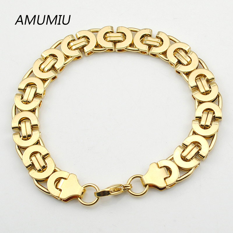 AMUMIU Herren Gold Farbe Kette Edelstahl Halskette Armband Set Flache - Modeschmuck - Foto 4