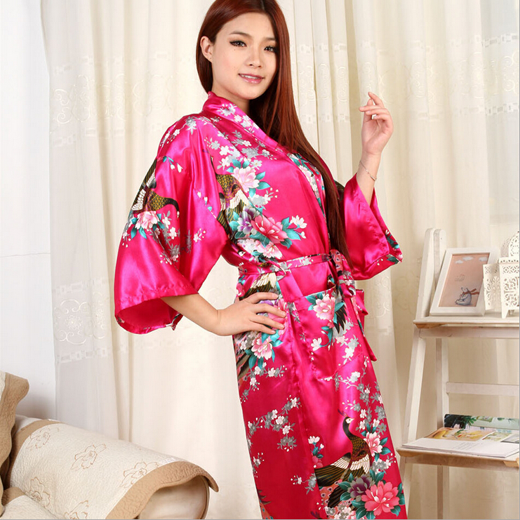 Brand Purple Red Female Printed Floral Kimono Dress Gown Chinese