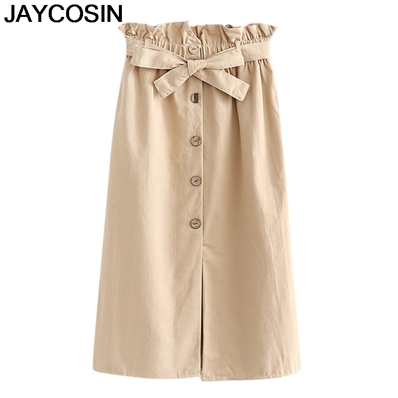 JAYCOSIN 2019 New Summer Women Solid Casual Denim Vintage Comfortable High Waist Ladies Long Skirt Mid-Calf Skirts Falda je18(China)