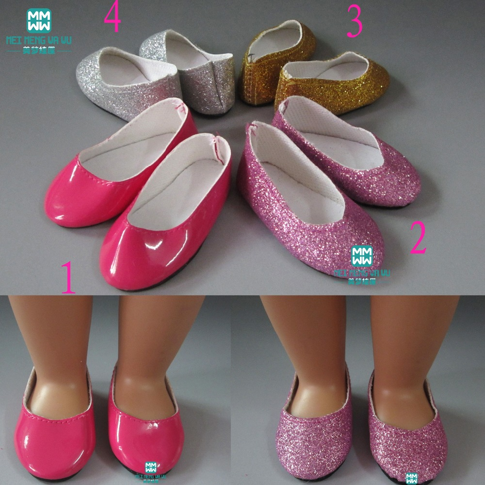 """1pair 7.5cm MIMI Glossy Shoes for dolls fits 18"""" 45cm Girl doll and baby born zapf doll accessories"""