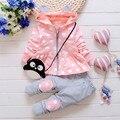 2016 Nova Primavera Crianças meninas conjunto terno versão Coreana do casuais jaqueta de algodão com capuz calças dois ternos do bebê/recém-nascidos roupas terno