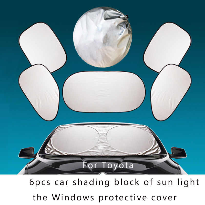 6pcs Car Sunshade cloth Auto Sun block Cover for front windshield,side/rear window.Protect Carolla Camry Reiz Sienna prius Land