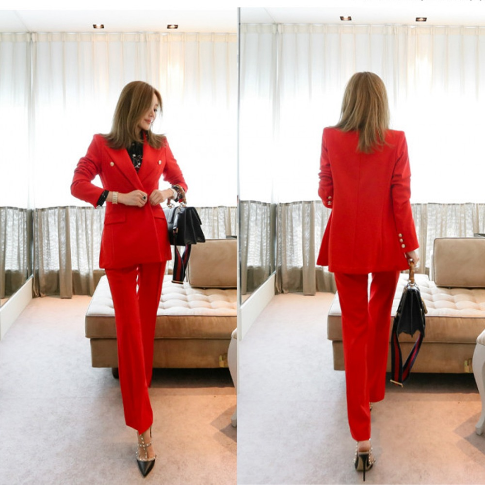 Red Work Pants Suits 2 Piece Sets Office Lady Suits Women Outfits Spring