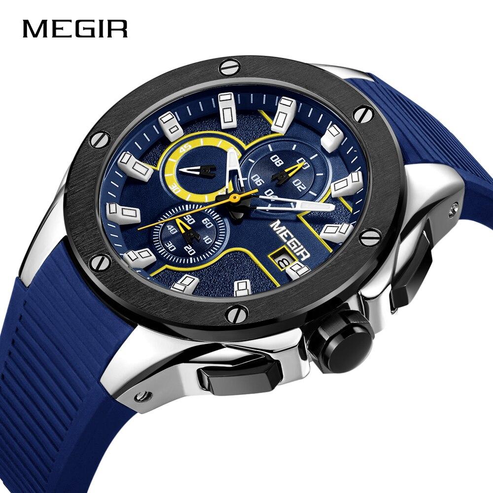 MEGIR для мужчин спортивные часы хронограф силиконовый ремешок Кварцевые армии Военная Униформа часы для мужчин лучший бренд класса люкс