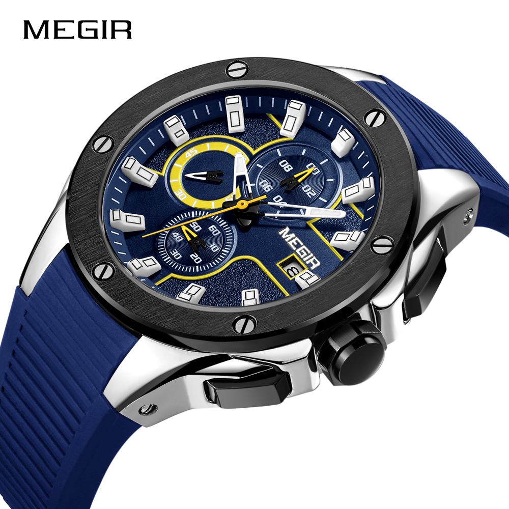MEGIR Men Sport Watch Chronograph Silicone Strap Quartz Army Military Watches Clock Men Top Brand Luxury Male Relogio Masculino megir men s wrist watch top luxury brand mens chronograph clocks military sport army clock men male classic quartz watches 3010