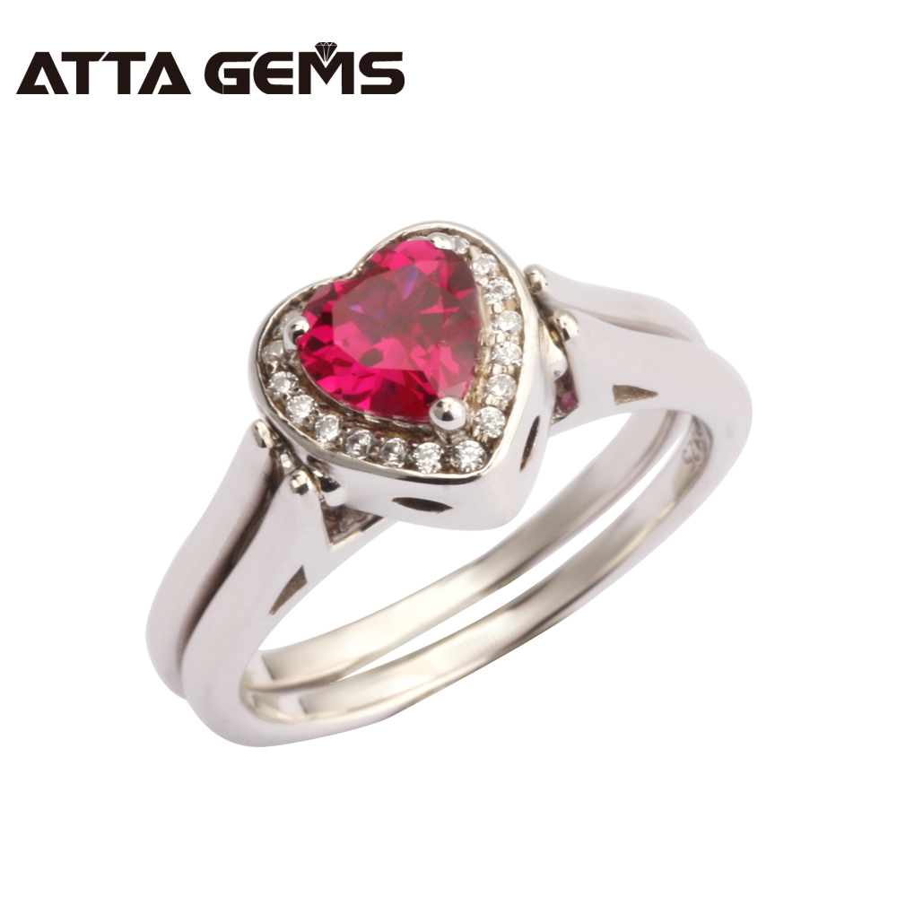 Red Ruby And Pink Sapphire Women Silver Ring Hearts 6mm Romantic and Elegant Party And Wedding Solid Silver Ring Lovely