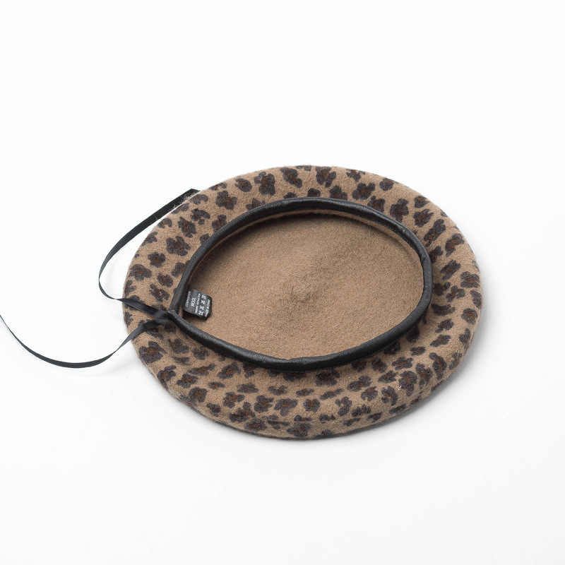 Новый стиль, шерсть, винтажная теплая шерсть, женский берет, французская Шапка-бини, искусственная кожа, Леопардовый принт, Осень-зима, размер 56-58 см