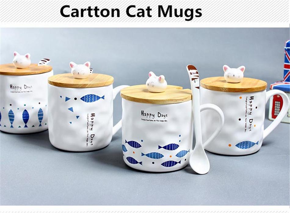 Cartoon Cute 3D Cat Fish Mugs Cup Set Creative Milk Tea Drink Breakfast Ceramic Cups Plates Coffee Cup Wooden Lid + Spoon Gift (1)