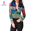 Print Thin Women Jackets Coat Casual Basic Long Sleeve Zipper Autumn Spring Short Coat Outerwear Bubblekiss