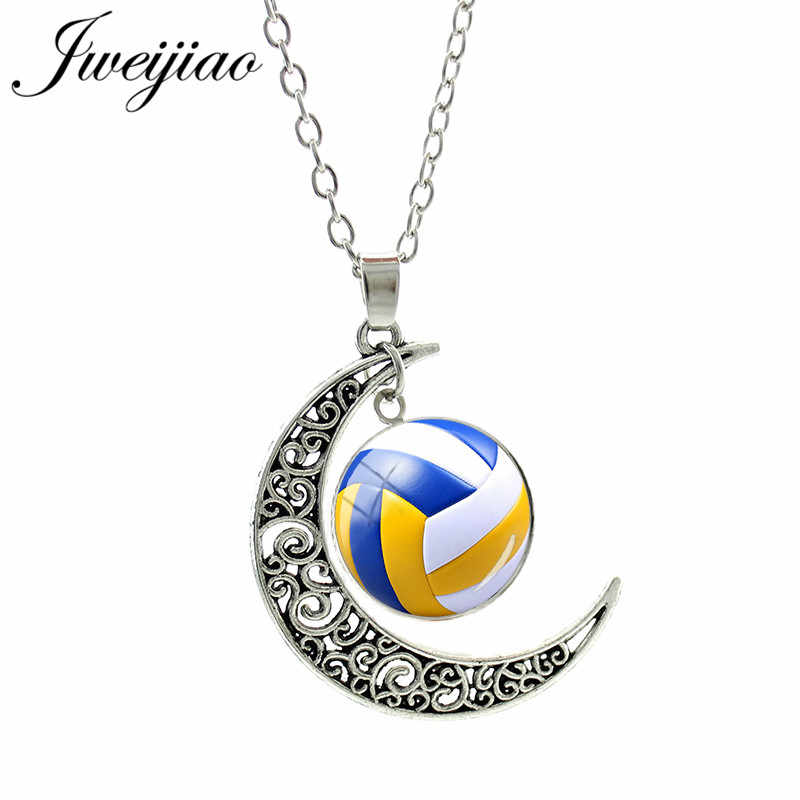 JWEIJIAO collares de baloncesto gemas de cristal de voleibol Golf encanto de béisbol joyería deportiva aleación cuello cadena para mujer niñas Sp648