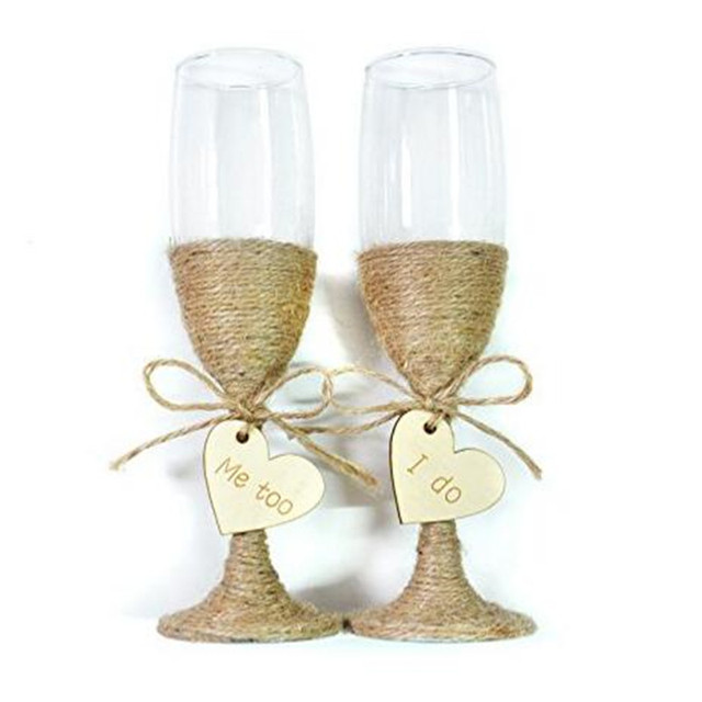 Rustic Wedding Toasting Gles With Twine Engraved I Do Me Too
