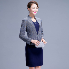 2016 autumn And Winter Women Elegant Dress Suits Casual Vintage Formal Female Dress blazer Beading Plus